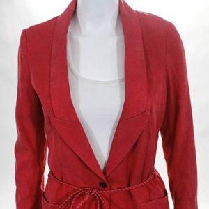 Maison Scotch Coral Pink Tie Waist Blazer Jacket 1